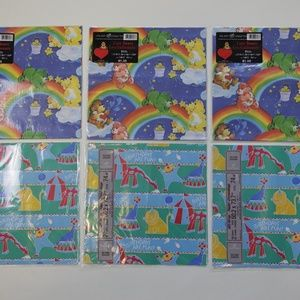 NOS Vintage Care Bears + Circus Birthday Gift Wrap